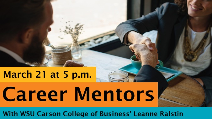 The Career Mentors image is of a man and women sitting across from each other and shaking hands over coffee at a cafe. Color scheme is blue, orange, and yellow.
