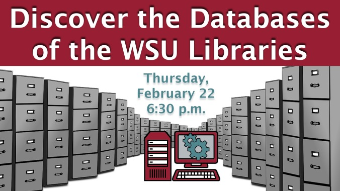 Discover the Databases of the WSU Libraries graphic is of endless grey file cabinets that meet in the middle of the image where a red, white, and grey computer sits with teal gears on the screen.