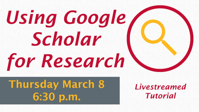 The Using Google Scholar for Research graphic has a textured white background with a red circle and a yellow magnifying glass inside of it in the corner. Color scheme is red and yellow.