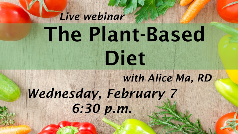 The Plant-Based Diet image features an image of fresh veggies and herbs surrounding a plank of wood.