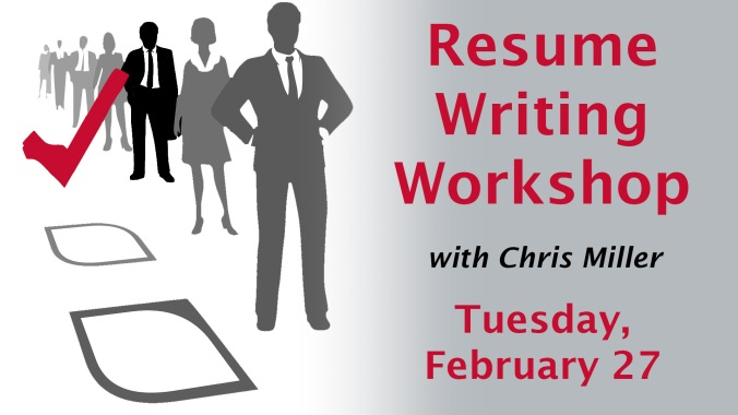 The Resume Writing Workshop graphic is of a line of business women and men and a red check mark next to the only business person not in grey but in black.