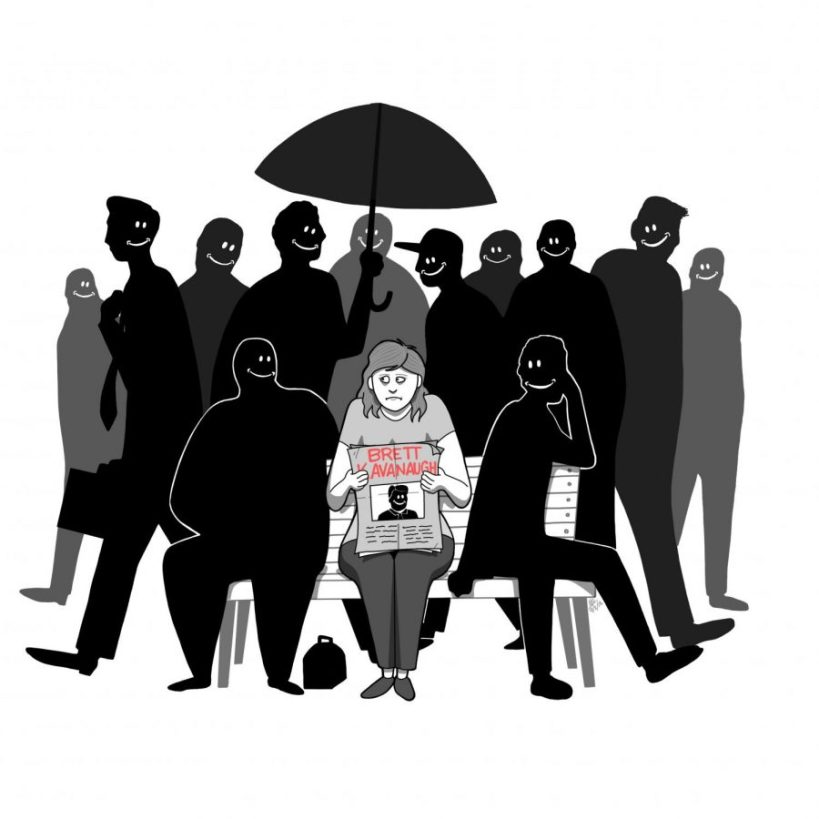 Cartoon of woman in grey reading a newspaper on a bench with a sad, uncomfortable face surrounded by men smiling around her.