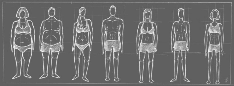 Graphic in grey-scale of men and women in undergarments with a variety of body types.