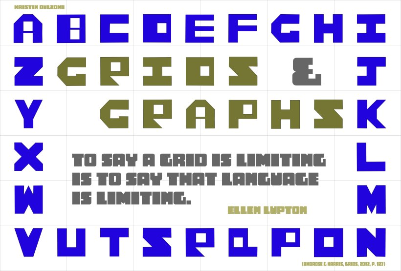 "An image of letters designed in a grid form with letters of the alphabet in purple as a border and gold letters in the middle saying ""Grids and Graphs"" with a quote in gray ""To say a grid is limiting is to say that language is limiting,"" by Ellen Lupton."